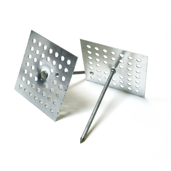 Two perforated insulation anchors