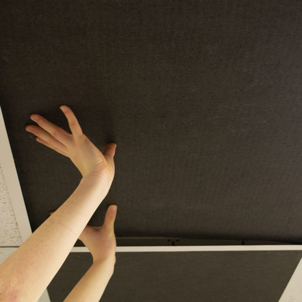 Installation of Black Acoustic Ceiling Tile